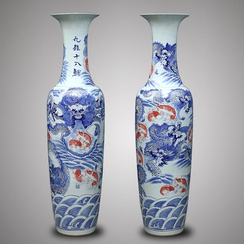 景德鎮高端雕刻龍紋大花瓶定制寫字