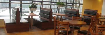 重庆餐厅板式实木卡座沙发定做厂